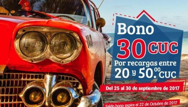 Oferta Cubacel del 25 al 30 de septiembre de 2017 (+30CUC)